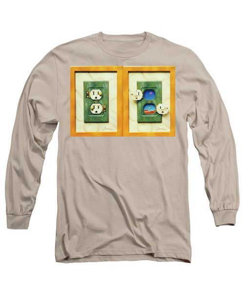Electric View Miniature Shown Closed And Open Long Sleeve T-Shirt