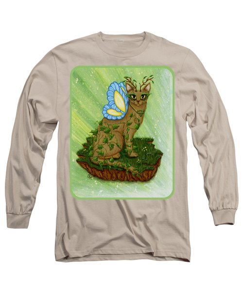 Long Sleeve T-Shirt featuring the painting Elemental Earth Fairy Cat by Carrie Hawks