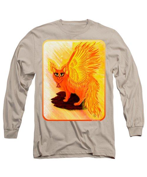 Elemental Fire Fairy Cat Long Sleeve T-Shirt by Carrie Hawks