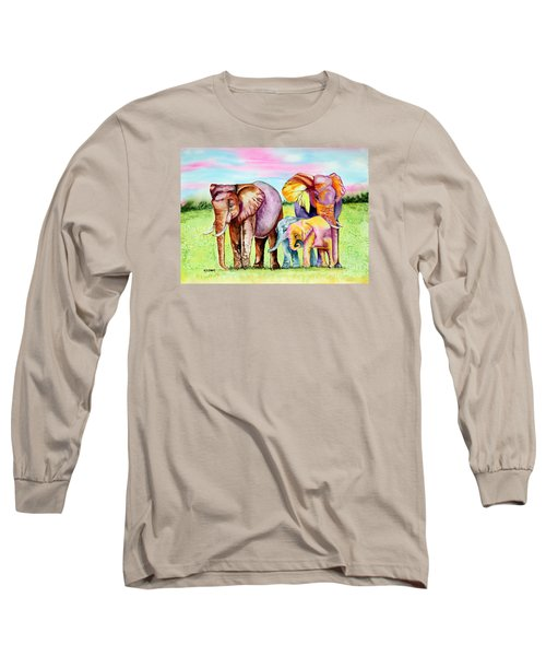 Long Sleeve T-Shirt featuring the painting Elephant Aura by Maria Barry
