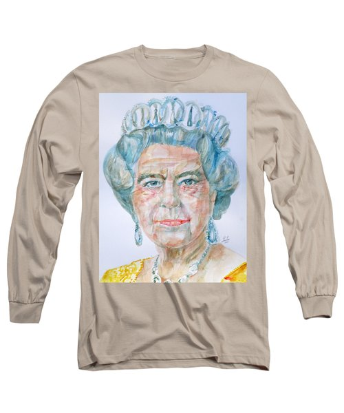 Long Sleeve T-Shirt featuring the painting Elizabeth II - Watercolor Portrait.2 by Fabrizio Cassetta