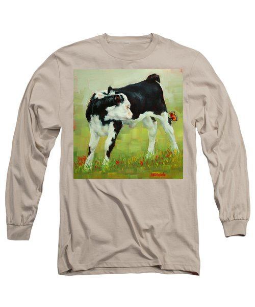 Long Sleeve T-Shirt featuring the painting Elly The Calf And Friend by Margaret Stockdale