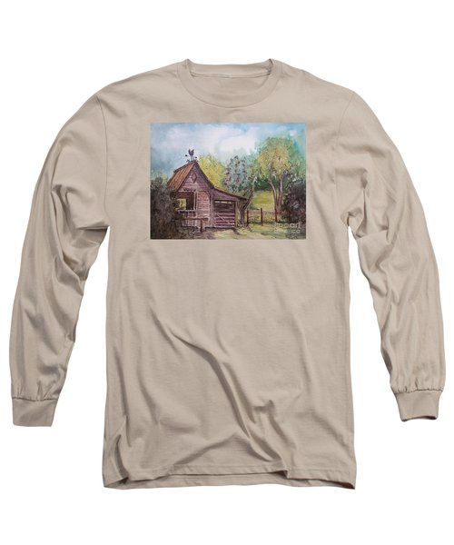 Long Sleeve T-Shirt featuring the painting Elma's Horse Barn by Gretchen Allen