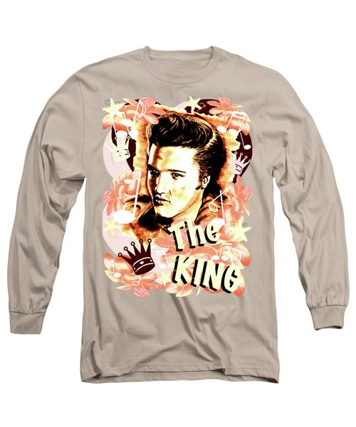 Elvis The King In Salmon Red Long Sleeve T-Shirt