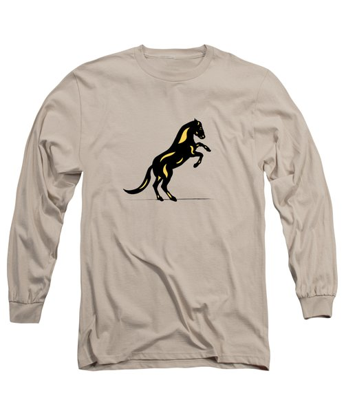Emma II - Pop Art Horse - Black, Primrose Yellow, Pink Long Sleeve T-Shirt
