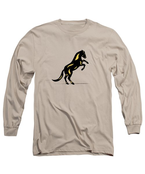 Emma II - Pop Art Horse - Black, Primrose Yellow, Pink Long Sleeve T-Shirt