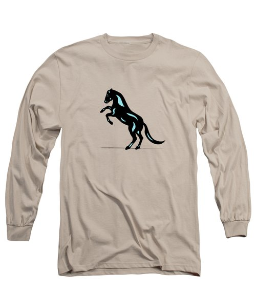 Emma - Pop Art Horse - Black, Island Paradise Blue, Pink Long Sleeve T-Shirt