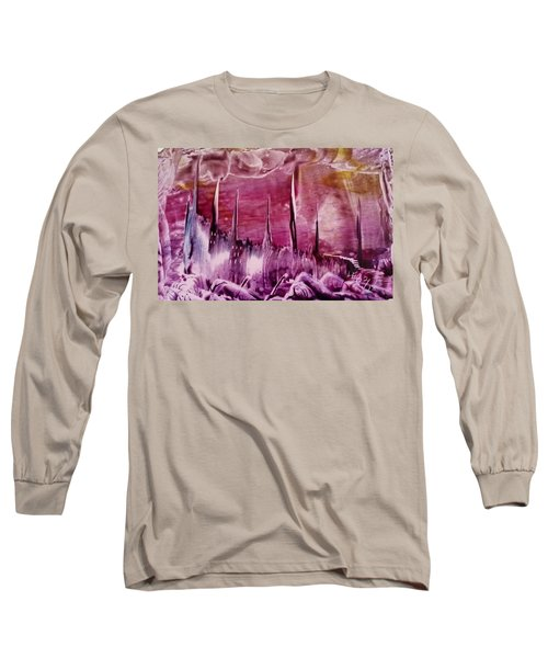 Encaustic Purple-pink Abstract Castles Long Sleeve T-Shirt