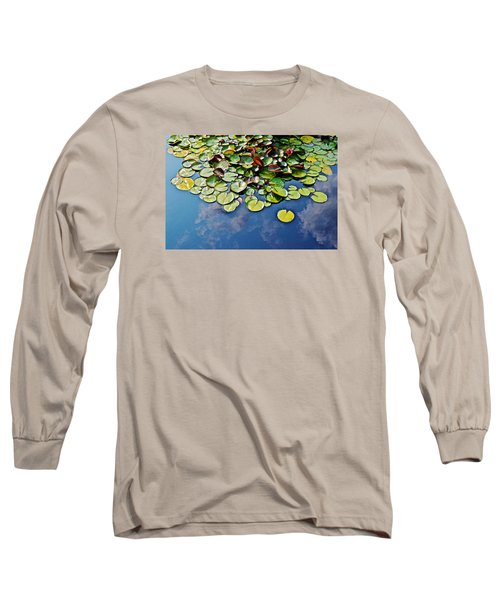 End Of July Water Lilies In The Clouds Long Sleeve T-Shirt by Janis Nussbaum Senungetuk