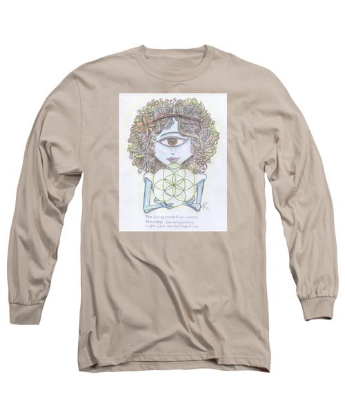 Long Sleeve T-Shirt featuring the drawing Enlightened Alien by Similar Alien