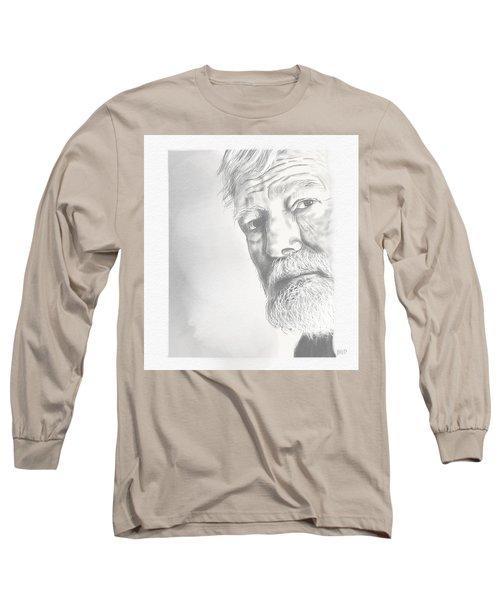 Ernest Hemingway Long Sleeve T-Shirt by Antonio Romero