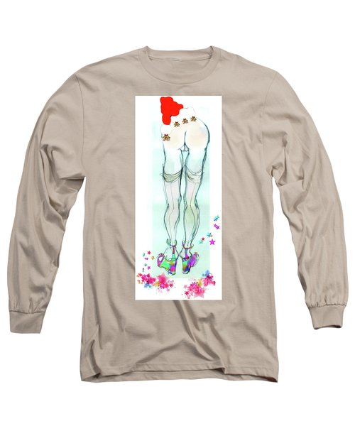 Long Sleeve T-Shirt featuring the mixed media Erotic Holiday Cards - Pom Pom Santa by Carolyn Weltman