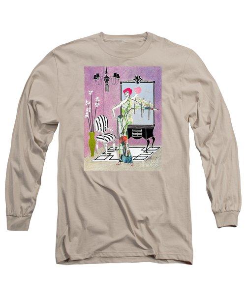 Erte'-esque -- Art Deco Interior W/ Fashion Figure Long Sleeve T-Shirt