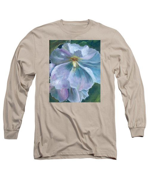 Long Sleeve T-Shirt featuring the painting Ethereal White Hollyhock by Jane Autry