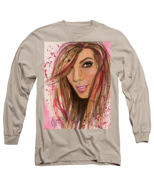 Long Sleeve T-Shirt featuring the painting Eva Longoria by P J Lewis