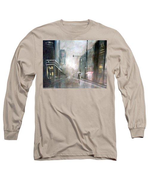 Evening Walk In The Rain Long Sleeve T-Shirt by Raymond Doward