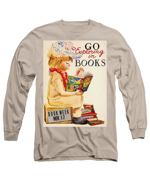 Long Sleeve T-Shirt featuring the photograph Exploring Books 1961 by Padre Art
