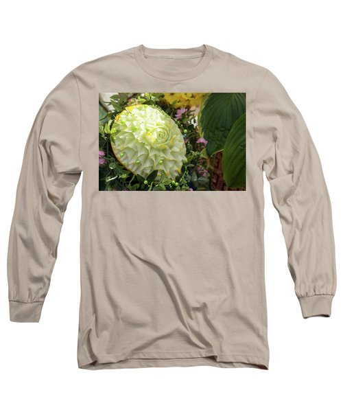 Extravagant Jeweled Dishes - Carved Melon Flower With Green Pearls Long Sleeve T-Shirt