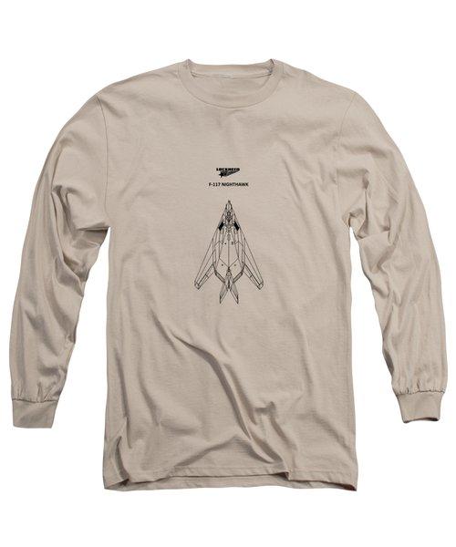 F-117 Nighthawk Long Sleeve T-Shirt by Mark Rogan