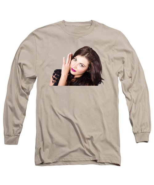 Long Sleeve T-Shirt featuring the photograph Face Of A Beautiful Woman. Perfect Beauty Makeup by Jorgo Photography - Wall Art Gallery