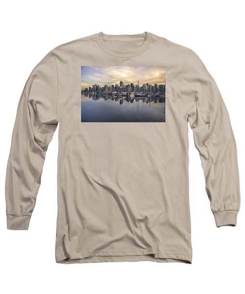 Fading Sun Over Downtown Vancouver Long Sleeve T-Shirt by Sabine Edrissi