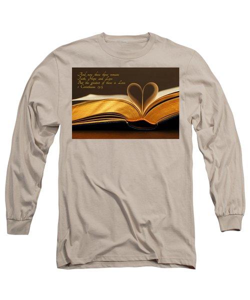 Faith. Hope. Love. Long Sleeve T-Shirt by Iryna Goodall