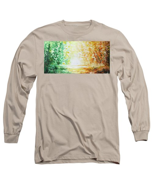Long Sleeve T-Shirt featuring the painting Fall Glow by William Love