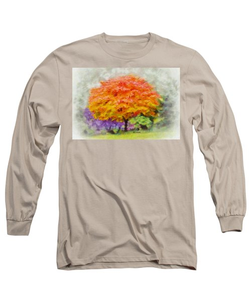 Long Sleeve T-Shirt featuring the painting Fall Tree by Greg Collins
