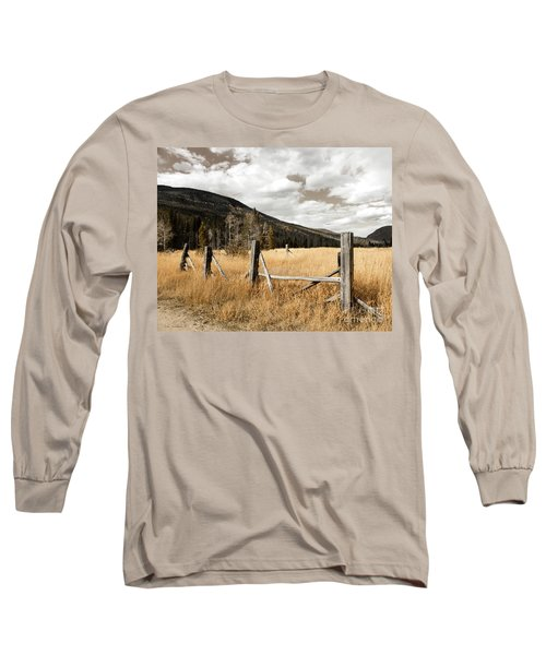 Long Sleeve T-Shirt featuring the photograph Fallowfield Weathered Fence Rocky Mountain National Park Dramatic Sky by John Stephens