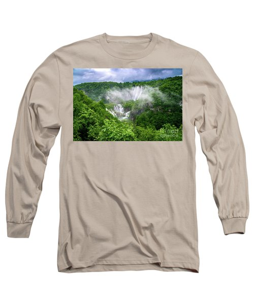 Falls Through The Fog - Plitvice Lakes National Park Croatia Long Sleeve T-Shirt