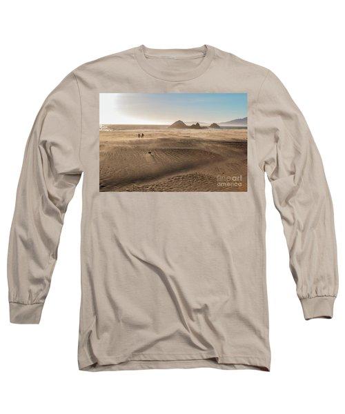 Family Walking On Sand Towards Ocean Long Sleeve T-Shirt