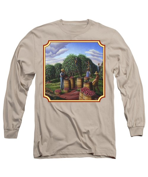Farm Americana - Autumn Apple Harvest Country Landscape - Square Format Long Sleeve T-Shirt by Walt Curlee
