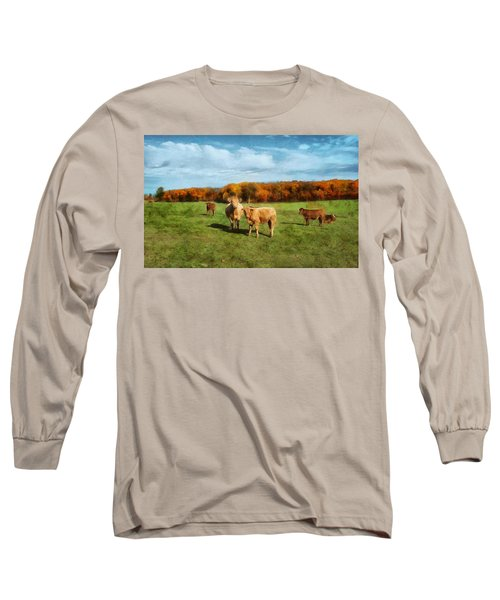 Farm Field And Brown Cows Long Sleeve T-Shirt