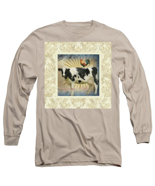 Long Sleeve T-Shirt featuring the painting Farm Fresh Damask Milk Cow Red Rooster Sunburst Family N Friends by Audrey Jeanne Roberts