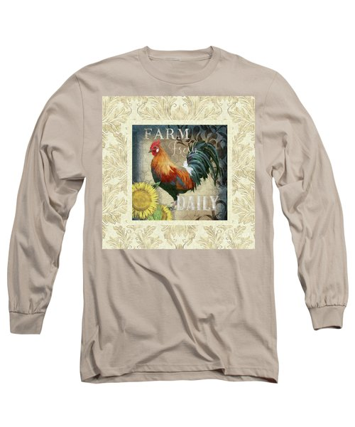 Long Sleeve T-Shirt featuring the painting Farm Fresh Damask Red Rooster Sunflower by Audrey Jeanne Roberts