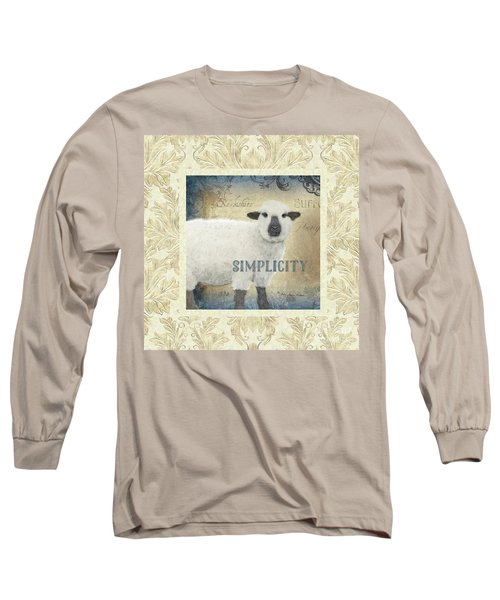Long Sleeve T-Shirt featuring the painting Farm Fresh Damask Sheep Lamb Simplicity Square by Audrey Jeanne Roberts