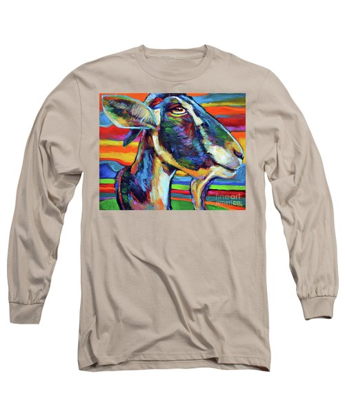 Long Sleeve T-Shirt featuring the painting Farm Goat by Robert Phelps