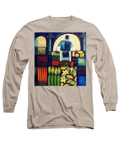 Long Sleeve T-Shirt featuring the painting Farm Market   by Mikhail Zarovny