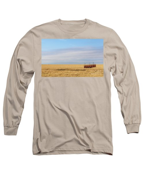 Farm Trailer In The Middle Of Field Long Sleeve T-Shirt