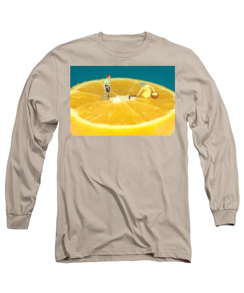 Farmers On Orange Long Sleeve T-Shirt by Paul Ge