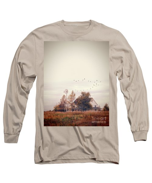 Long Sleeve T-Shirt featuring the photograph Farmhouse And Windmill by Jill Battaglia
