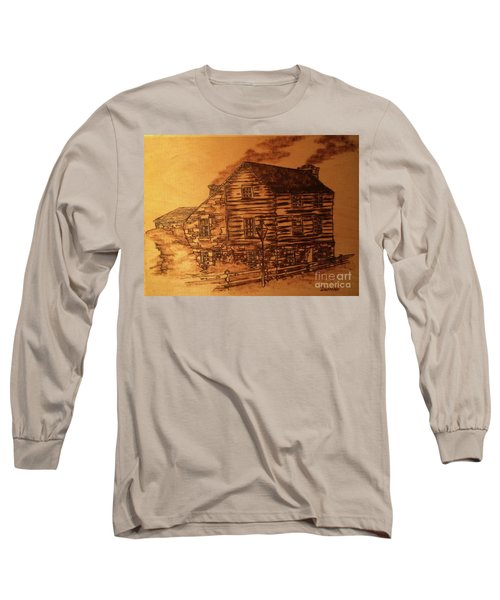 Long Sleeve T-Shirt featuring the pyrography Farmhouse by Denise Tomasura
