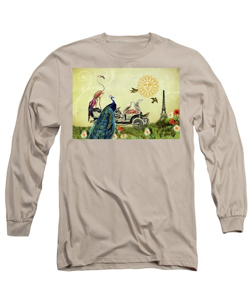 Feathered Friends In Paris, France Long Sleeve T-Shirt by Peggy Collins