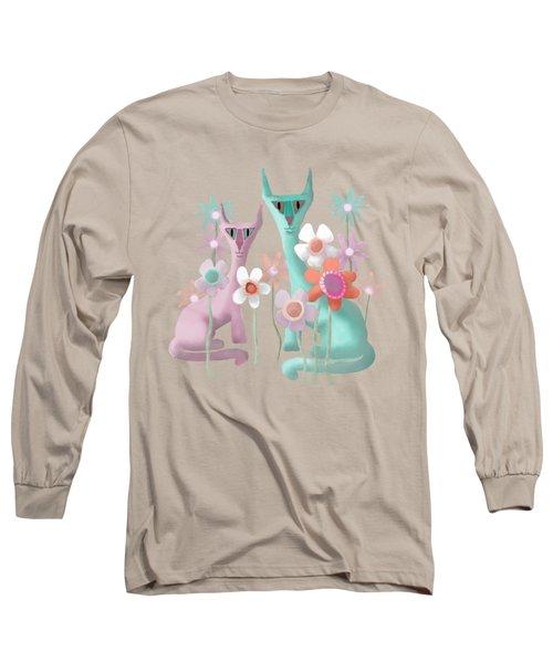 Felines In Flowers Long Sleeve T-Shirt