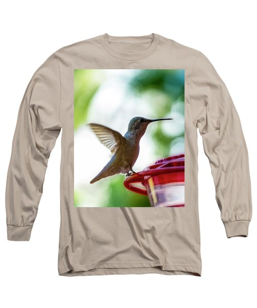Long Sleeve T-Shirt featuring the photograph Female Anna's Hummingbird V24 by Mark Myhaver