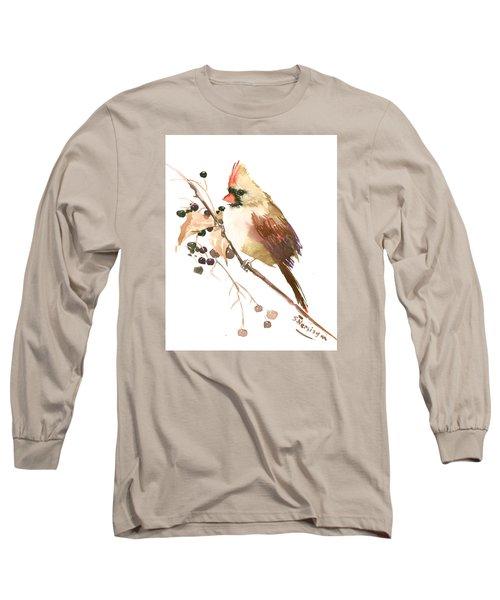 Female Cardinal Bird Long Sleeve T-Shirt by Suren Nersisyan