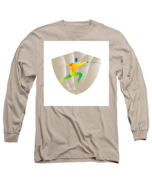 Fencing Side Shield Retro Long Sleeve T-Shirt