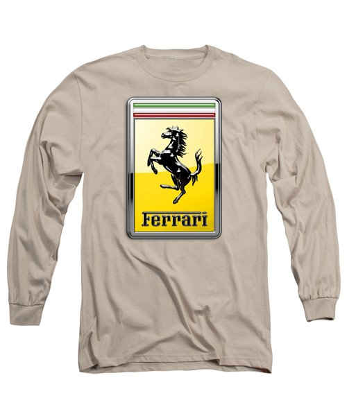 Ferrari 3d Badge- Hood Ornament On Yellow Long Sleeve T-Shirt