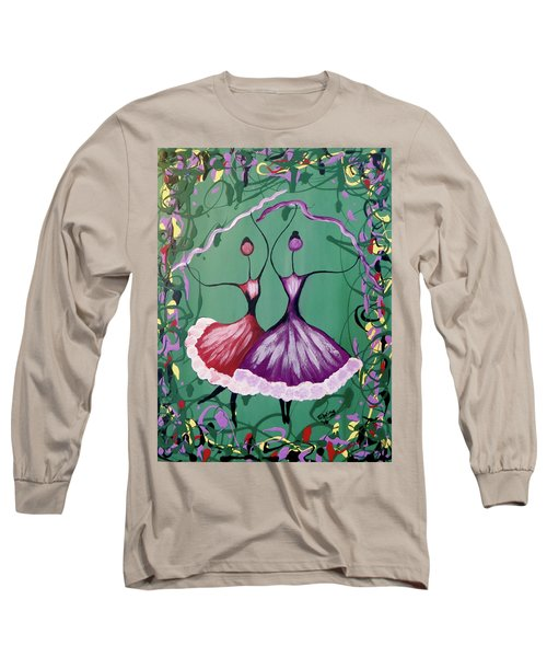 Long Sleeve T-Shirt featuring the painting Festive Dancers by Teresa Wing