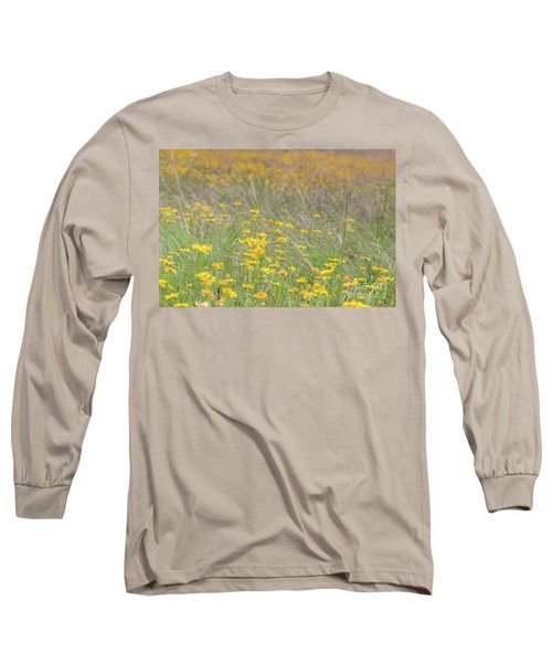 Field Of Yellow Flowers In A Sunny Spring Day Long Sleeve T-Shirt